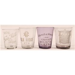 Vintage Whiskey Shot Glass Group (4)  (112588)