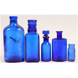 Cobalt Blue Antique Bottle Group  (114272)