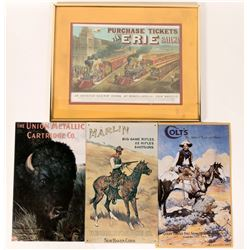 Erie Railway Currier and Ives Framed Print and Metal Firearms Signs  (110886)