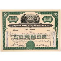 La Salle Wines & Champagne, Inc. Stock Certificate  (107838)
