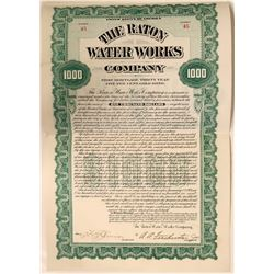 Raton Water Works $1000 Gold Bond, New Mexico Territory  (110916)