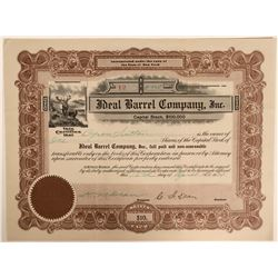 Ideal Barrel COmpany stock, 1914  (110905)