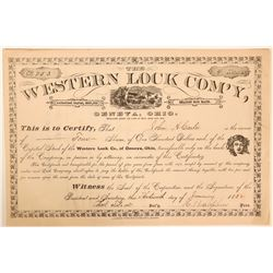Short-lived Western Lock Company Stock Certificate from Geneva, Ohio  (110917)