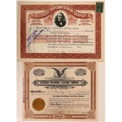 Two Telephone-themed Stock Certificates: Edison & Southern Telephone-Electric  (107840)