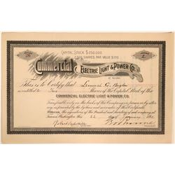 Commercial Electric Light and Power of Tacoma, Washington stock certificate  (110906)