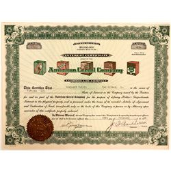 American Cereal Company Stock Certificate with one of the most Colorful and Interesting Vignettes we