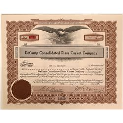 DeCamp Consolidated Glass Casket Company stock certificate  (110918)