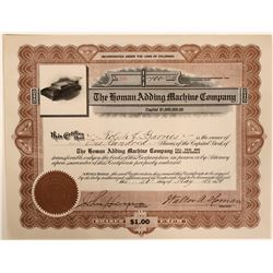 Rare Homan Adding Machine Stock Certificate with Great Vignette  (110913)
