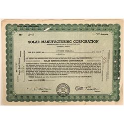 Solar Manufacturing Corporation Stock  (110920)