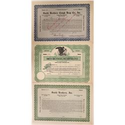 Three Different Smith Brothers Cough Drops Stock Certificates - issued to and signed by the Smith Br