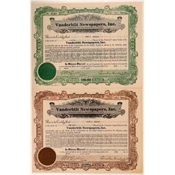 Vanderbilt Newspapers, Inc. Stock Certificates Signed by Vanderbilt  (107877)