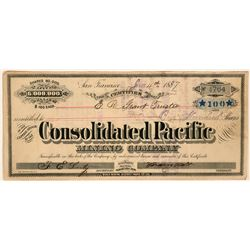 Consolidated Pacific Mining Company Stock Certificate, Bodie, 1887  (110928)