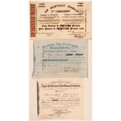 Three California Gold Rush Mining Stock Certificates  (110950)