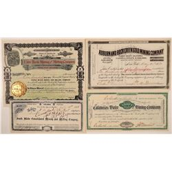 Four California Mining Company Stock Certificates  (110946)
