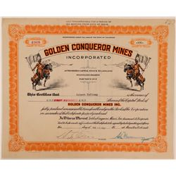 Golden Conqueror Mines, Inc. Stock Certificate  (107853)