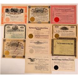 11 Different Cripple Creek Mining Stock Certificates  (107851)
