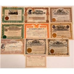 Ten Different Colorado Mining Stock Certificates  (107843)