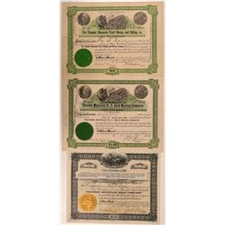 Three Different Thunder Mountain Mining Stock Certificates  (107872)