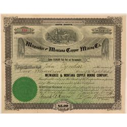 Milwaukee & Montana Copper Mining Co. Stock  (111363)