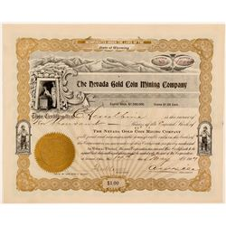 Nevada Gold Coin Mining Co Stock Certificate, 1907  (111369)