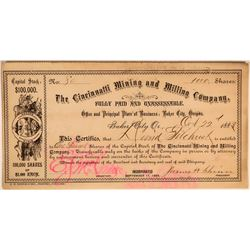"Rare Early Oregon Territory '""Cincinnati Mining and Milling"" Co. Stock Certificate'  (110936)"