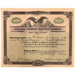 Arkansas Southern Railroad Co Stock Certificate, 1903  (111156)