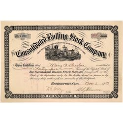 Consolidated Rolling Stock Co Stock Certificate, Connecticut, 1913  (111204)