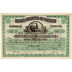 Chicago, Burlington & Northern Railroad Co Stock Certificate, 1887  (111138)