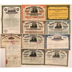Chicago, Burlington & Quincy Railroad Co Stock Certificate Group (12)  (111113)