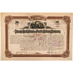 Chicago, Rock Island & Pacific Railway Co. Cert. for 10 Bonds, Unlisted, 1887  (111320)