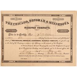 Chicago, Decorah & Minnesota Railway Co Stock Certificate, 1884  (111222)