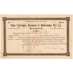 Chicago, Kansas & Nebraska Railway Co Stock Certificate, 1888  (111134)