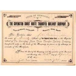 Covington Short Route Transfer Railway Co Stock, 1889  (111147)