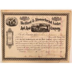 Belfast & Moosehead Lake Rail Road Co Stock, 1878  (111324)