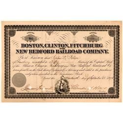 Boston, Clinton, Fitchburg & New Bedford Railroad Co Stock, 1876  (111164)