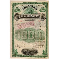 Escanaba, Iron Mountain & Western Railroad Co Bond, Michigan, 1890  (111289)