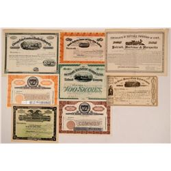 Michigan & Wisconsin Unissued Railroad Stock Group (8)  (111299)