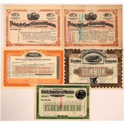 Group of Five Railroad Stock Certificates With Duluth In the Name  (111019)
