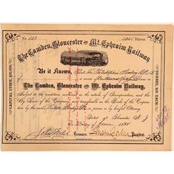 Camden, Gloucester & Mt. Ephraim Railway Stock, 1888  (111150)