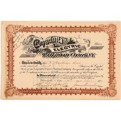 Cayadutta Electric Railroad Company Stock Certificate, 1893  (111151)