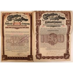 Columbus & Ninth Avenue Railroad Co Bonds (2) in Different Formats, 1893  (111212)