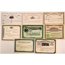 Eight Different New York Railroad Stocks, Unissued  (111200)