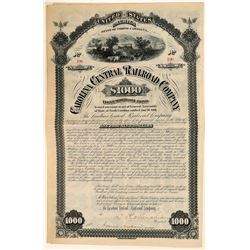 Carolina Central Railroad Co $1,000 1st Mortgage Bond, 1881  (111154)