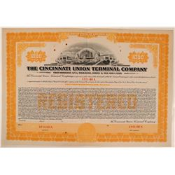 Cincinnati Union Terminal Co Bond Specimen, Orange, Series C, $1,000- Rare  (111183)