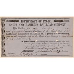 Eaton & Hamilton Railroad Co Stock Certificate, Ohio, 1853  (111266)