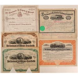 Nice Group of Cincinnati Railroad Stocks (5)  (111306)