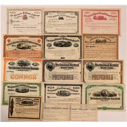 Nice Group of Unissued Cincinnati Railroad Stocks (15)  (111242)