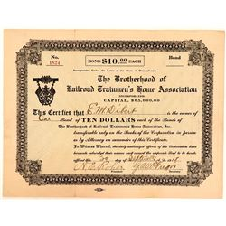 Brotherhood of Railroad Trainmen's Home Association Bond, 1918  (111161)