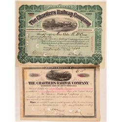 Chartiers Railway Co Stock Certificates (2)  (111252)