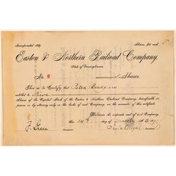 Easton & Northern Railroad Co Stock Certificate, PA.- 1891  (111267)